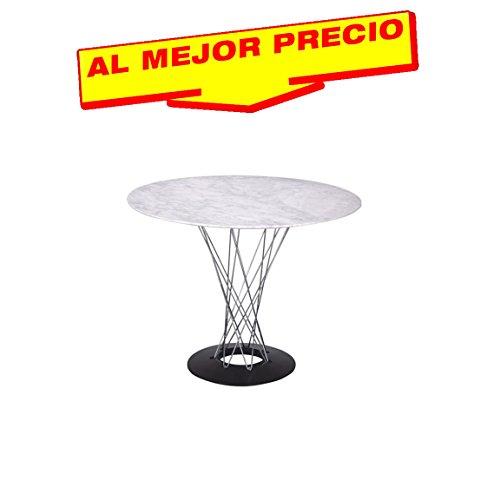 MESA DE COMEDOR REDONDA CON TAPA DE MÁRMOL BLANCO PRIMERA CALIDAD NOGUCHI STYLE 120 CM - OFERTAS HOGAR -¡AL MEJOR PRECIO!