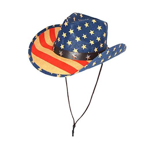 e Flagge Cowboyhut westlichen Hut Sommer Sonnenhut breiter Krempe Strohhut für 4. Juli Partei begünstigt Geschenke (Khaki Cap Edge) ()
