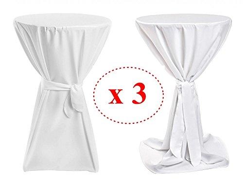 3er Pack Stehtischhussen Basic (Weiß, 70cm Ø)