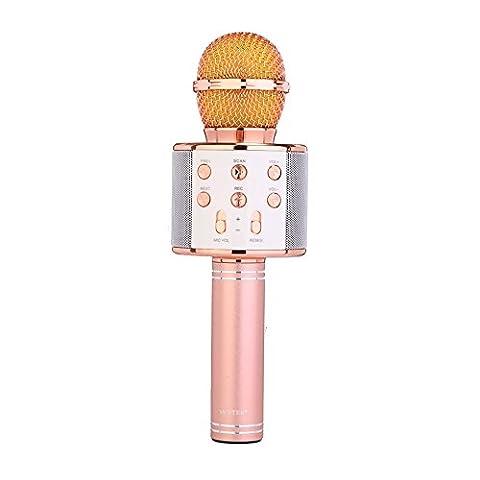 Microphone Bluetooth sans fil avec haut-parleur, Autbye Microphone Karaoké Mini Portable 1800Ah, 10 Mètres Bluetooth 4.1 Haut-parleur Hi-Fi haute qualité (Rose)