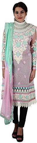 Raj Nandini Suits & Sarees Women's Chanderi Silk Semi Stitched Salwar Suit Set(RajNandini03 _ P