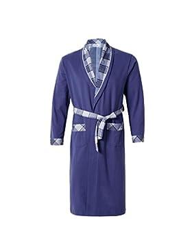 Pijama de hombre/Albornoz de manga larga de algodón de primavera y otoño/Albornoz cómodo y relajante Ropa de hogar
