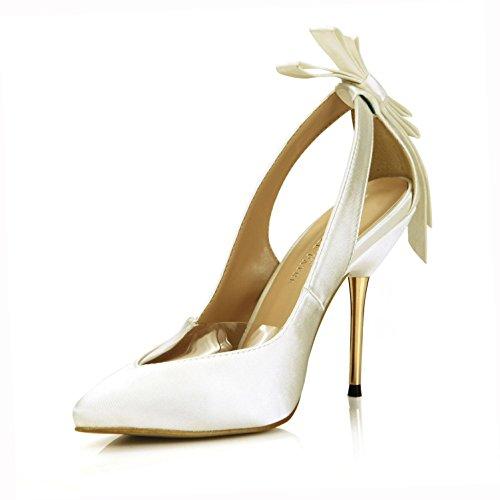 KUKIE Best 4U® Frauen Sommer Faux Silk Sandalen spitz Bow Slingback 10,7 cm Hohe Metall Heels Gummisohle Schuhe Pumps Beige, EU39 Bow Slingback Heels