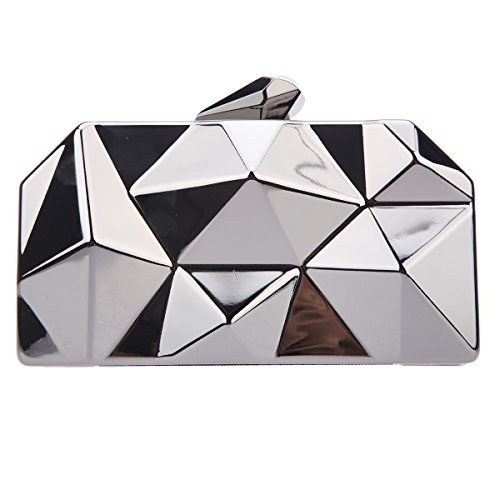 Bonjanvye Polygon Abstract Hard Case Clutch Evening Bags with Chain for Women Gray