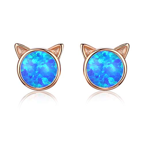 atze Ohrringe Opal Ohrstecker 925 Sterling Silber 14K Gold Katze Opal Ohrringe für Damen Mädchen ()