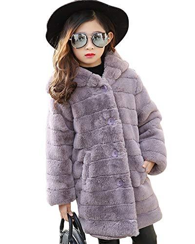 Suncaya Cappotti da Bambina Ragazza Cappotto con Cappuccio Caldo Pelliccia Faux Cappotto Giacche