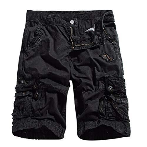 GreatestPAK Cargo Shorts Herren Lässig Einfarbig Outdoor Pocket 1/2 Pants Multi-Pocket Zipper Arbeitsoverall,Schwarz,EU:S(Tag:L) - Classic Petite Mantel