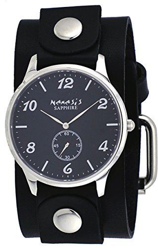 Nemesis GB253K Women's Signature Sapphire Collection Black Dial Wide Leather Band Watch
