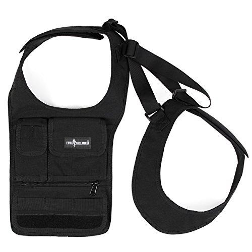 Free Soldier Outdoor agente nascondere gilet bag molle sistema per tablet, iPad borsa portafoglio Corduar bag, Uomo, Black Black