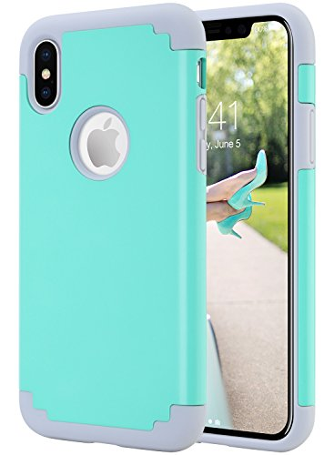 iPhone X Hülle, iPhone 10 hülle, ULAK Slim Dual Layer Anti-Rutsch Anti-Kratzer Schutzmaänahmen Matt Finish Shell Fall Deckung für iPhone X / iPhone 10 5,8 Zoll 2017 Release mint + grau mint + grau