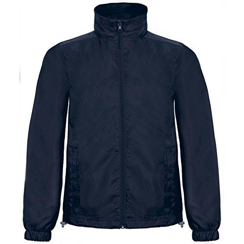 B&C Herren ID.601 Jacke mit Kapuze, Wind und Wasser abweisend Marineblau