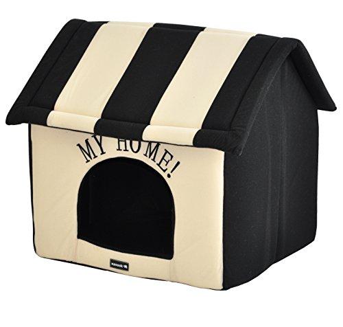 nanook Hundehaus Hundehöhle ADRIAN, Größe L mit Kissen, weicher Stoff Bezug, waschbar, warm, schwarz beige