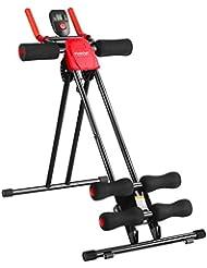Finether Appareil de Fitness Abdominal Pliable et Réglable avec 6 Niveaux de Résistance Incliné Rouge Noir