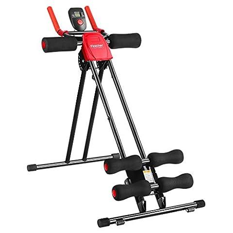 Finether Appareil de Fitness Abdominal Pliable et Réglable avec 6 Niveaux de Résistance Incliné Rouge