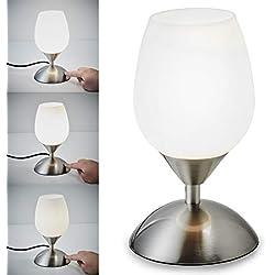 B.K. Licht lampe de chevet tactile 3 intensités, lampe de table avec fonction Touch, lumière de lecture, éclairage chambre, chambre enfant bébé, 3 niveaux de luminosité, E14, 230V, IP20, 25W