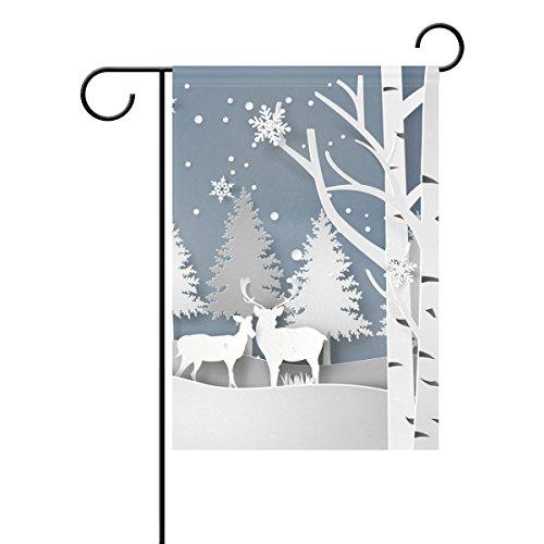 Duble Sided Papier Art Design Deer in Forest und Snowfall of Weihnachten in Winter Season Polyester HAUS/Garten Flagge Banner 12x 18/71,1x 101,6cm für Hochzeit Party alle Wetter