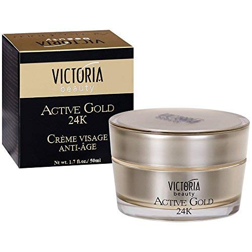 Victoria Beauty – Anti-Aging 24K Active Gold Augencreme – Anti-Falten Gesichtscreme mit Hayluronsäure und Kollagen gegen Augenringe (1 x 50 ml) – Luxus Gesichtspflege für Frauen