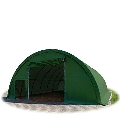 Rundbogenhalle Zelthalle 9,15x12x4,5m Weidezelt Offenstall Reithalle Weidehütte Reitzelt Maschinen Tier Unterstand Lagerzelt Garage 720g/m² PVC grün