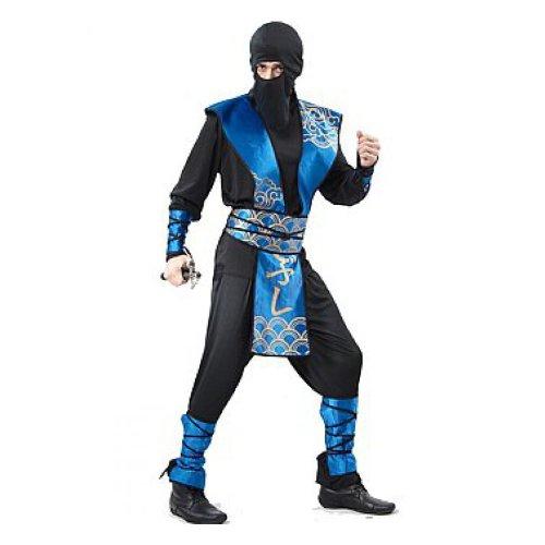 Ninja Japan Samurai schwarz blau Erwachsene Herren - (Kostüme Ninja Herren)