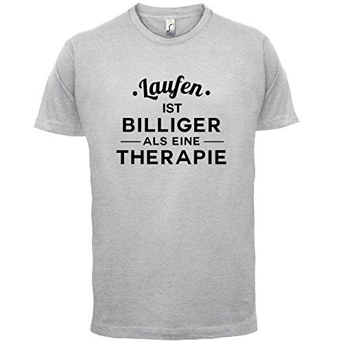 Laufen ist billiger als eine Therapie - Herren T-Shirt - 13 Farben Hellgrau