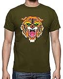 latostadora - Camiseta Manga Corta Tigre para Hombre Army S