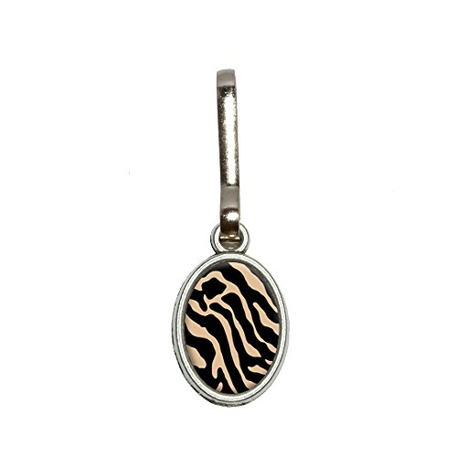 Zebra Print Tan Antik Oval Charm Kleidung Geldbörse Gepäck Rucksack Zipper Pull