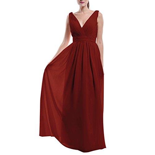 Find Dress Femme Sexy Robe Demoiselle d'Honneur pour Cocktail de Mariage/Fête Col en V Robe Longue Eté en Mousseline Bordeaux