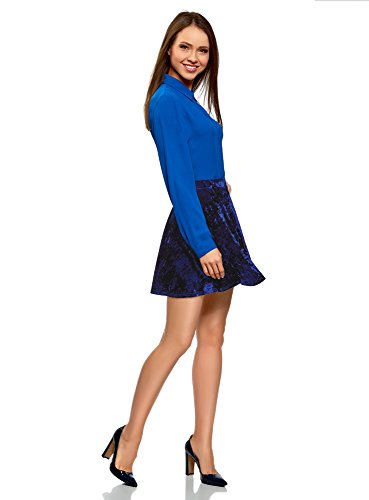 oodji Ultra Donna Gonna in Velluto con Pieghe Morbide Blu (7500N)