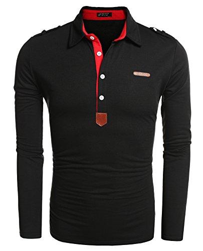 Coofandy Men's Long Sleeved Tops Polo Shirt Button Down Collar Top