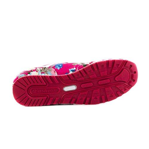 Trendige Damen Schnür Sneaker Freizeit Schuhe mit Blumenmuster Pink