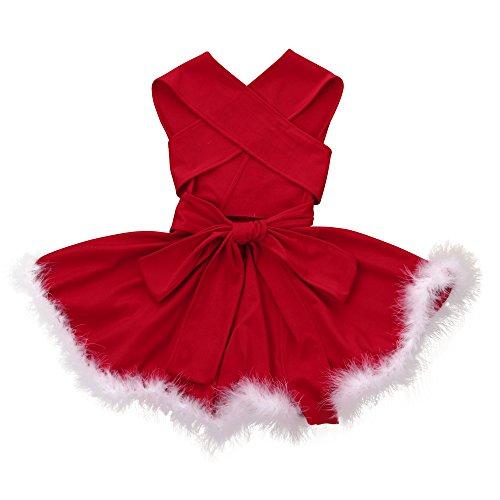 Babykleidung Honestyi Kleinkind Kind Baby Weihnachtskleidungs Bandge Sleeveless Festzug Partei Weihnachtskleid (Rot,110)