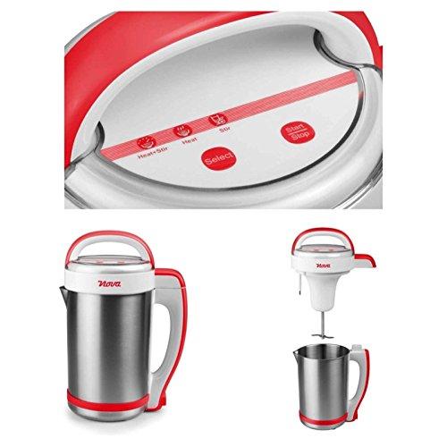 Edelstahl Küchenmaschine mit Kochfunktion Starke 1000 Watt Suppenzubereiter Suppenbereiter Kochprogramm (Suppen-Kocher, Verdecktes Heizelement, Abnehmbares Kabel, 1,3 Liter, zum Kochen von Suppen)