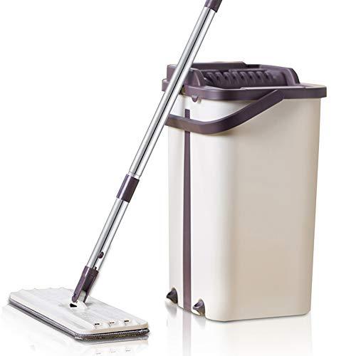JYL Flat Squeeze Mop und Bucket Hand einfach auswringen Bodenreinigung Mop Mikrofaser Mop Pads Nass- oder Trockengebrauch auf Hartholz Laminatfliesen,A,6piecesofcloth -