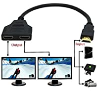 yi-ya Cable HDMI 1080P HDMI Spliter Cable puerto macho a 2Mujer 1en 2Out Cable divisor Adaptater en HDMI HD, LED, LCD, TV, 30cm