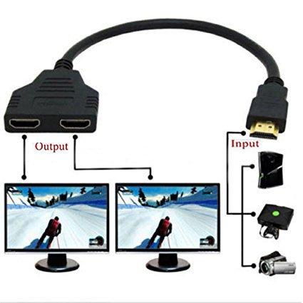 Yi-Ya HDMI-Kabel 1080p, HDMI-Splitterkabel, Stecker auf 2Buchsen, 1 Eingang, 2Ausgänge, Splitter-Kabel-Adapter, HDMI, HD, LED, LCD, TV, 30cm (Ausgang 1)