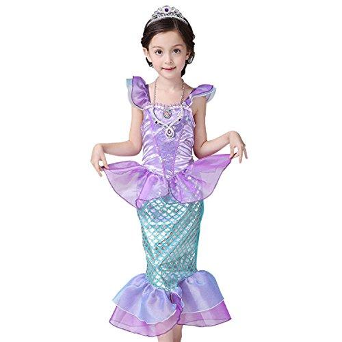 Kostüm Set Cutie - VADOO Mädchen Onesie Ruffle Sleeve Meerjungfrau Prinzessin Kleid Fancy Kostüm Sets 120