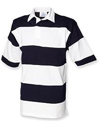 Front Row Men'genähten Streifen Short Sleeve Shirt