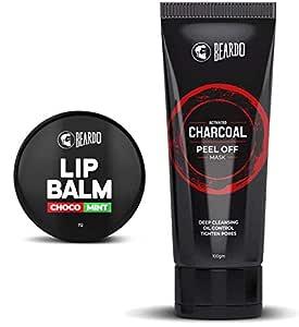 BEARDO Activated Charcoal Peel Off Mask and Beardo Choco Mint Lip Balm Combo