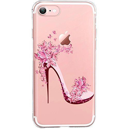 Girlscases® | iPhone 8/7 Hülle | Im Blumen-Highheels Motiv Muster | in rosa bunt | Fashion Case transparente Schutzhülle aus Silikon