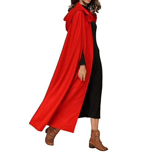 Hongxin Damen Kapuzen Robe Herbst Winter Lang Umhang Lose Volltonfarbe Strickjacke Outwear Halloween Fasching Kostüm Robe Cosplay Weihnachten Umhang Mantel Plusgröße S-XL