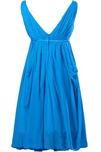 Sunvary A-line donna senza maniche corte con collo A V, in Chiffon vestito da damigella d'onore per feste Blue
