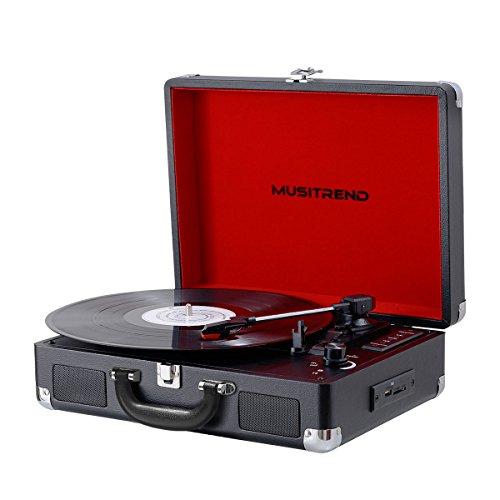 MUSITREND Plattenspieler Schallplattenspieler Turntable Riemengetriebener Tragarer Stereo mit 3 Geschwindigkeiten Eingebauten 2 Lautsprechern Unterstützt RCA Ausgang Tragegriff Retro Design - Schwarz Koffer