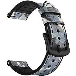 Feicuan Regarder Remplacement Bandes en Vigueur pour Samsun Watch 46mm Gear S3 Frontier Doux Véritable Cuir 22mm Bracelet Sangle