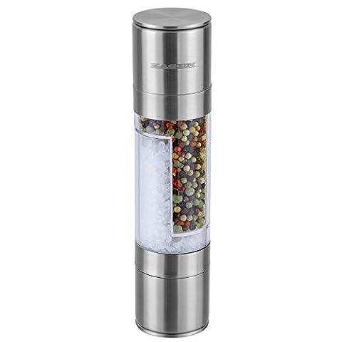 KAGEN Salz- und Pfeffermühle 2in1 aus Edelstahl und Acrylglas mit