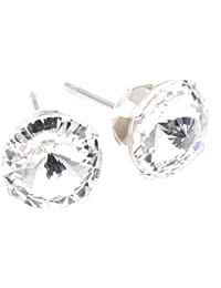 pewterhooter 9mm Silver Plated stud earrings expertly made with Brilliant crystal from SWAROVSKI®.