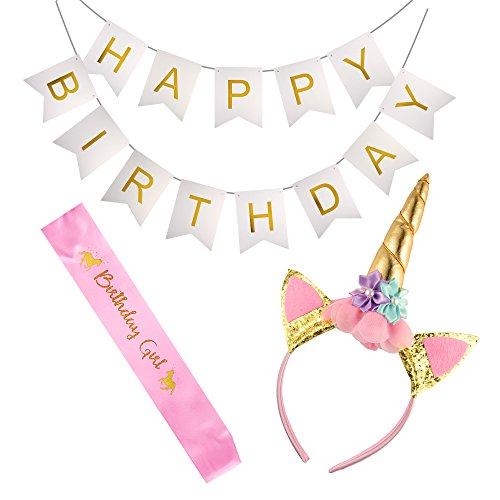 FEPITO Einhorn Thematisch Geburtstagsfeier Zubehör für Mädchen Einschließen Einhorn Stirnband Geburtstags Mädchen Schärpe Alles Gute zum Geburtstag Banner (Partei Girls Begünstigt)