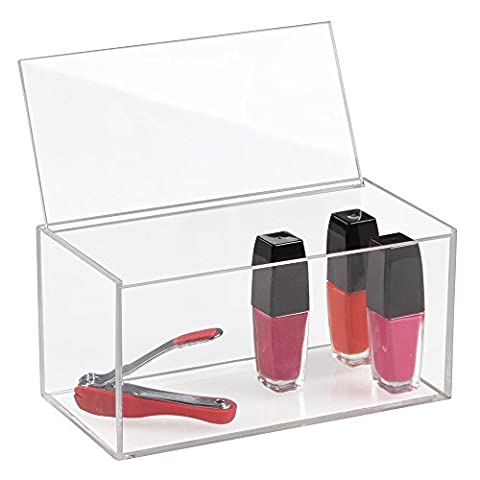 mDesign Cosmetic Organizer with Lid for Vanity Cabinet to Hold Makeup, Beauty Products, Large - 10.2 cm Tall,