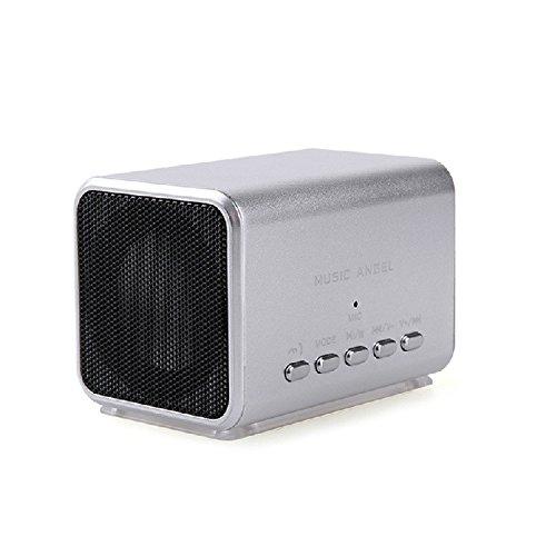 MUSIC ANGEL JH-MD05BT tragbarer portabler Lautsprecher als Kube mit Kabel, USB und TF Karte Subwoofer klein und leicht zu tragen für Reise, Picknick und Indoors (silber)