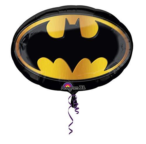 amscan 2965701 Folienballon SuperShape Batman Emblem, Schwarz, Gelb, Amerikanische Größe (Arten Von Batman Kostüm)