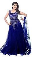 Lady Loop Women's Net Gown Dress Material (Blue Net Gown _Blue_)